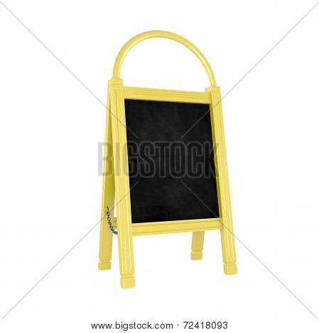 Blank Yellow Menu Board Isolated On White