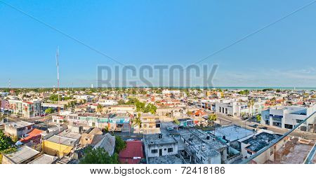 : panoramic view of downtown in Chetumal, Mexico