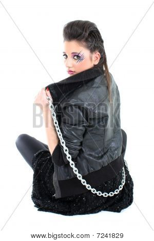 Young Beautiful Girl With Chain