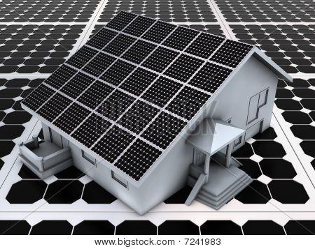 House on solar panels