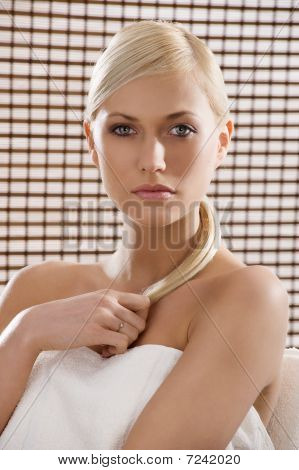 Beauty Blond With White Towel