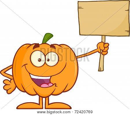 Halloween Pumpkin Cartoon Mascot Character Holding A Wooden Board