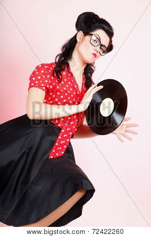 Phonography Analogue Record Girl Pin-up Retro