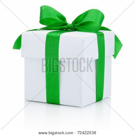White Box Tied Green Ribbon Bow Isolated On White Background