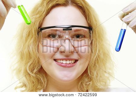 Chemist Woman With Chemical Glassware Tubes Isolated
