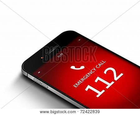 Mobile Phone With Emergency Number 112 Over White