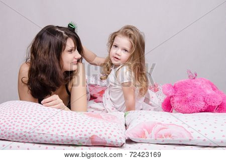 Girl Combing Her Hair Mom