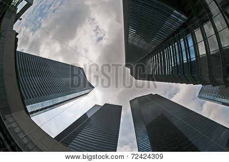 Fish eye view of office buildings