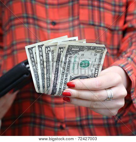Money in woman's hand