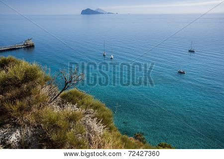 blue sea to the Lipari coast