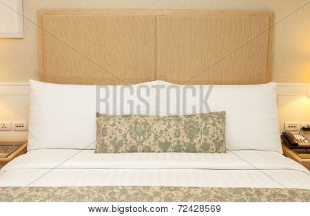 Bedroom Design With Furnishings. King Sized Bed, Pillows, Cover Blanket, Thailand