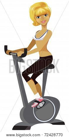 girl is engaged on a stationary bike