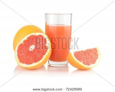 Studio Shot Sliced Three Grapefruits With Juice Isolated White