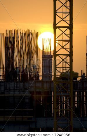 Construction At Sunrise