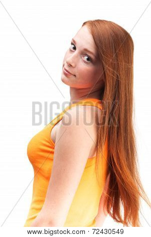 Profile Of A Young Red-haired Girl In A Bright Shirt. Isolated On White Background