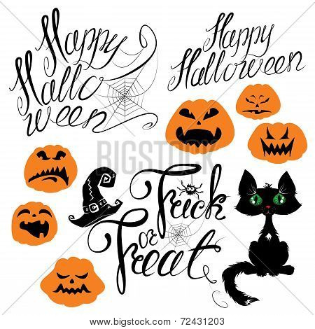 Set Of Halloween Elements - Pumpkin, Cat, Spider And Other Terrifying Things. Handwritten Calligraph