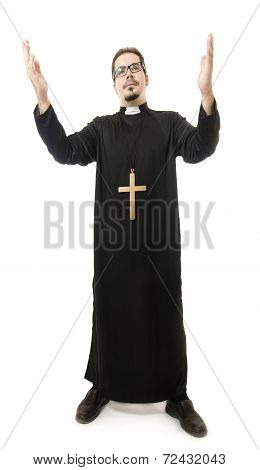 Isolated Priest On White Background