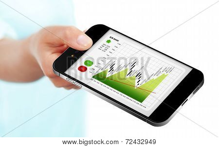 Hand Holding Mobile Phone With Stock Market Chart Isolated Over White