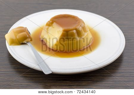 Creme Caramel Vanilla Custard Dessert Or Flan On White Dish