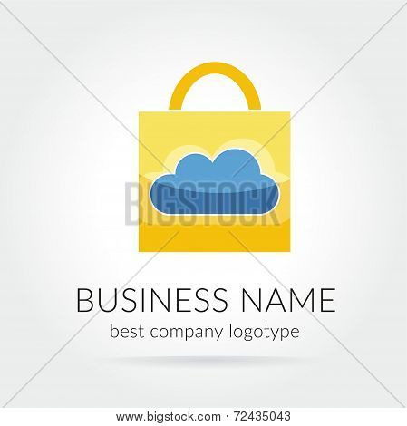Locked cloud vector logotype isolated