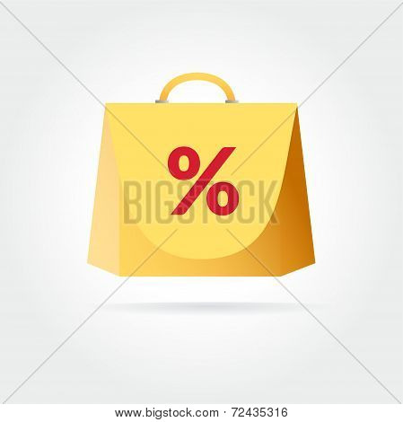 Yellow colored vector bag icon for shopping