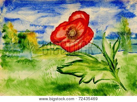 Bright Poppy On A Background Of An Idyllic Landscape, Watercolor Painting