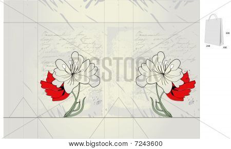 Template for folder with spring flowers