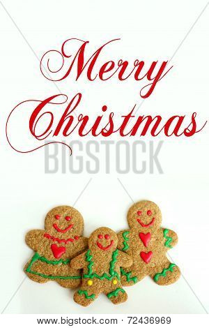 Christmas Gingerbread Cookie Family Isolated On White Background With Text Merry Christmas