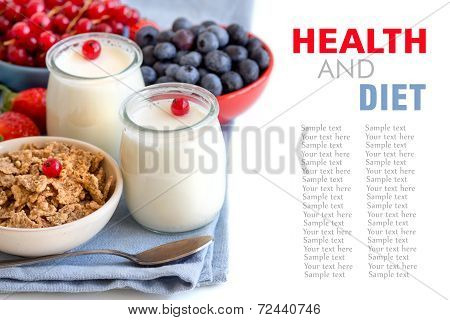 Jars Of Fresh Natural Yogurt, Berries And Cereals