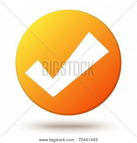 Orange vector circle shape internet button with check mark