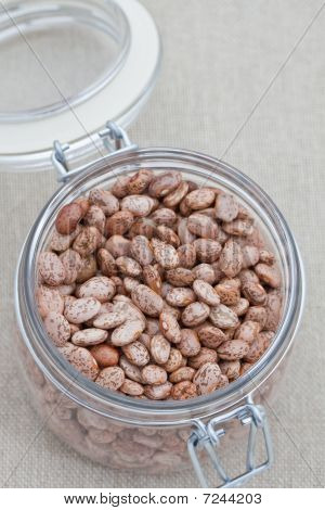 Glass Jar With Pinto Beans