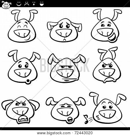 Dog Emoticons Cartoon Coloring Page