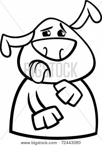 Dog Yuck Face Cartoon Coloring Page
