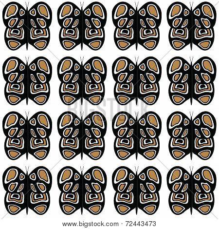 Black-Tan-White Medium Butterfly Pattern