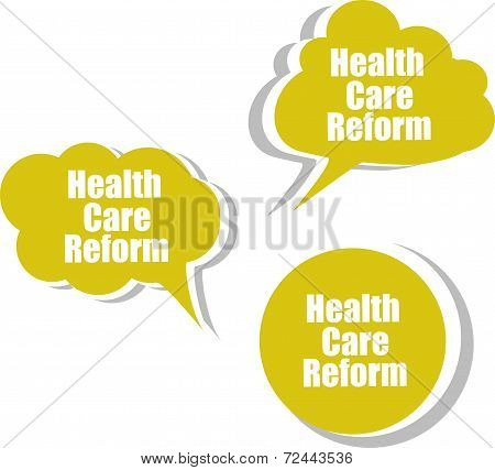 Health Care Reform, Set Of Stickers, Labels, Tags. Template For Infographics
