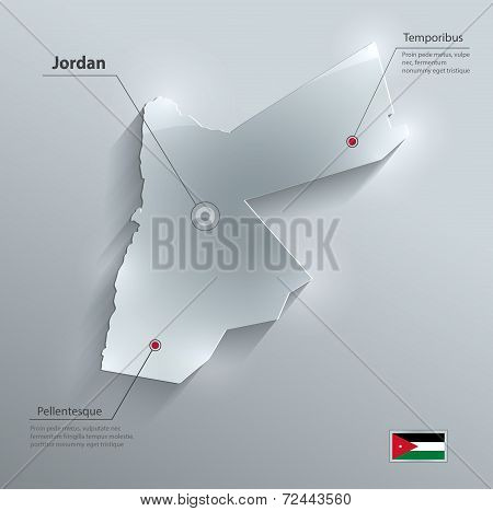 Jordan map flag glass card paper 3D vector