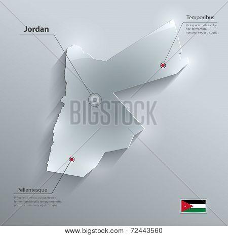 Jordan map flag glass card paper 3D vector