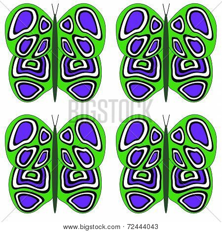 Green, Purple and White Butterfly Large Pattern