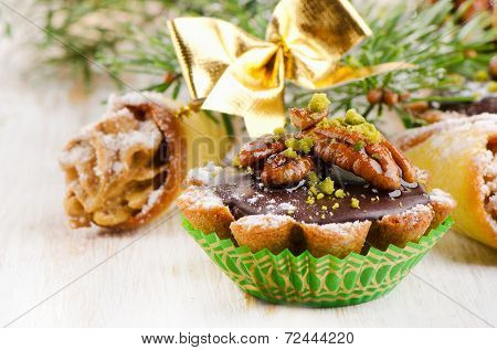 Sweet Cupcake With Christmas Decoracions