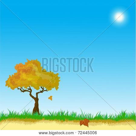 Vecor landscape with Autumn leaves