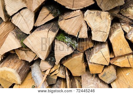 Stacked logs of firewood