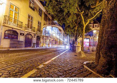 Traditional Yellow Tram Downtown Lisbon