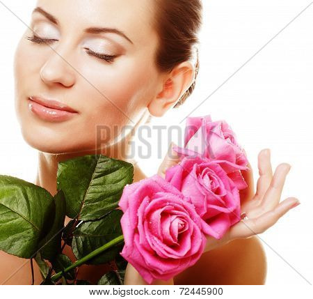 Woman with pink roses