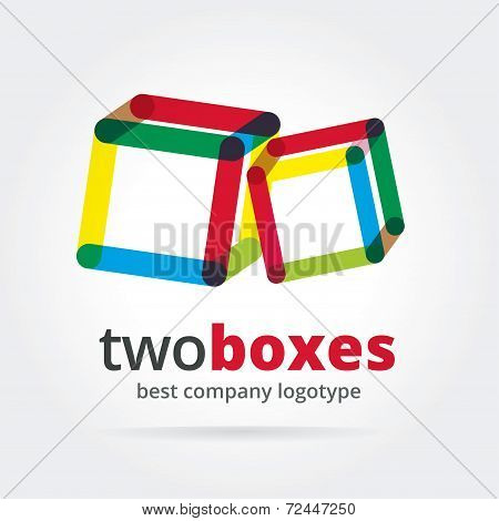 Abstract vector logotype with two box