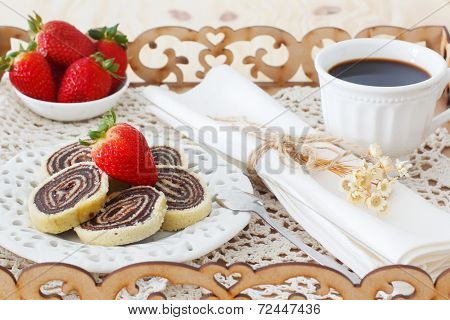 Bolo De Rolo Brazilian Chocolate Dessert On Tray