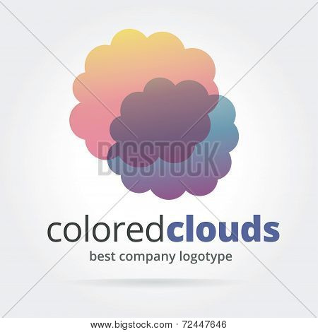 Abstract vector logotype with two clouds isolated on white background