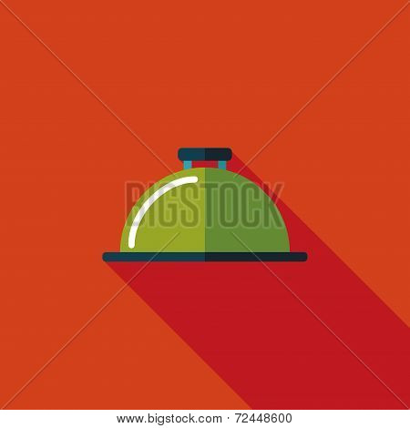 Restaurant Cloche Flat Icon With Long Shadow,eps10
