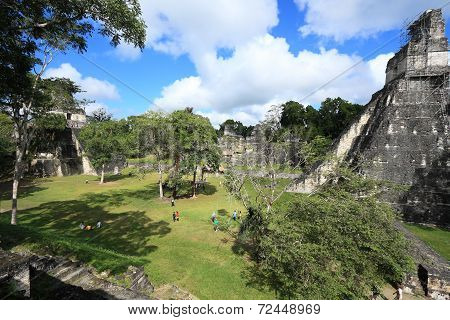 Gran Plaza and temples, abandoned city of Tikal, Guatemala