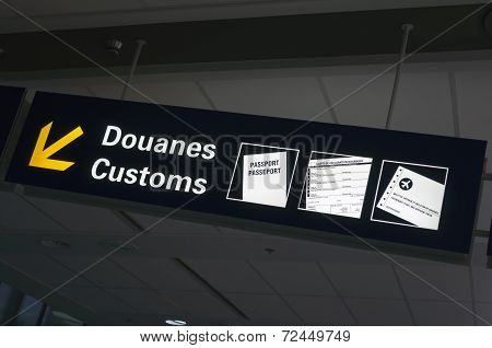 Airport Customs Sign.