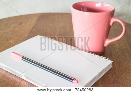 Notepaper And Hot Drink On Wooden Table